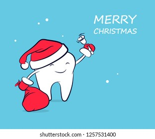 Cute funny cartoon tooth in a Santa Claus hat in red mittens with a bag of gifts and a bell. Vector concept of New Year and Christmas greeting for the dental clinic with space for text.