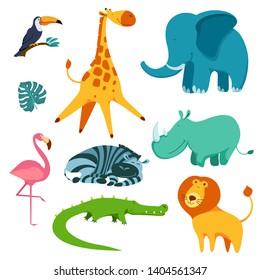 Cute and funny cartoon tropical animals set. Collection with toucan, crocodile, elephant, rhinoceros, lion, zebra, flamingo and giraffe. Flat vector illustration.