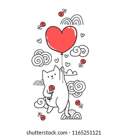 Cute funny cartoon white cat holding rose and flying on red heart shaped balloon. Adorable domestic pet kittie illustration. Perfect for greeting postcard or t-shirt design.