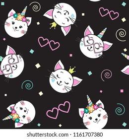 cute funny cat unicorn seamless pattern on a black background