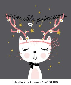 Cute funny cat vector design for new year.
