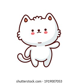 Cute funny cat. Vector flat line cartoon kawaii character illustration icon. Isolated on white background. Cat,kittie pet character concept