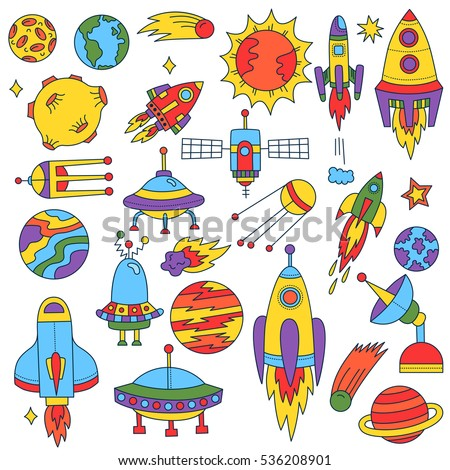 Cute Funny Childish Outer Space Symbols Stock Vector Royalty Free