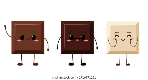 Cute funny chocolate piece characters. Dark, black, white chocolate bar emoji. Cartoon kawaii emoticon vector illustration