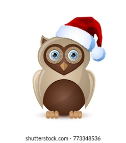 Cute and funny Christmas owl character with Santa hat isolated on white background