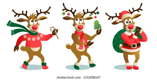 Cute and funny Christmas reindeers, cartoon vector illustration isolated on white background. reindeer with Xmas tree, gifts and dancing, having fun, decoration elements.