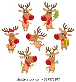 Cute and funny Christmas reindeers, cartoon vector illustration isolated on white background. reindeer with Christmas tree, gifts and garland, ice skating, having fun, decoration elements