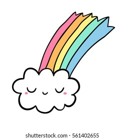 Cute funny cloud and rainbow