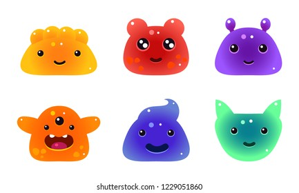 Cute funny colorful jelly animals and monsters faces set, user interface assets for mobile apps or video games vector Illustration on a white background