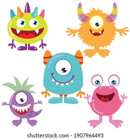 Cute funny colorful monster vector cartoon illustration
