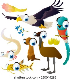 Cute funny comic cartoon vector big eyes animal set : eagle, quetzal, olm, meerkat, emu, catfish