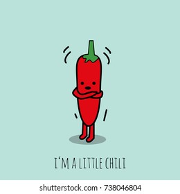 Cute and funny concept of a freezing chili. Vector illustration. Modern design.
