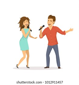 cute funny couple emotionally singing songs isolated cartoon vector illustration