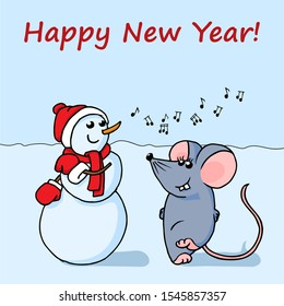 Cute, funny dancing hand drawn Snowman and Mouse. Bright New Year card.