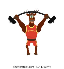 Cute  funny deer in sport uniform and lifted barbell. Vector illustration  isolated  white background. Cartoon style.