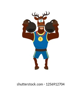 Cute  funny deer in sport uniform and dumbbells. Vector illustration can use for  design, T-shirt, decor. Cartoon style.