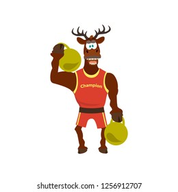 Cute  funny deer in sport uniform and dumbbells. Vector illustration can use for  design. Cartoon style.