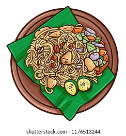"Cute and funny delicious ""Mie Aceh"", a traditional fried noodle from Aceh, Indonesia - vector"