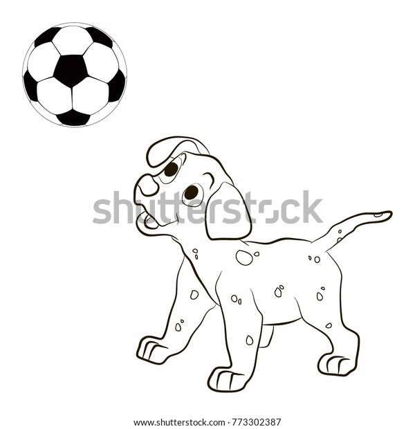 - Cute Funny Dog Playing Football Puppy Stock Vector (Royalty Free) 773302387