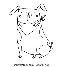 Cute funny dog vector hand drawn sketch. Smiling puppy illustration