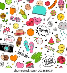 Cute funny doodles seamless pattern on white background for teenage girls