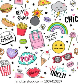 Cute funny doodles seamless pattern on white background for teenage girls.