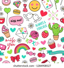 Cute funny doodles seamless pattern on white background. Love concept elements for valentine's day.