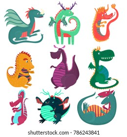 Cute funny dragon characters set, cchildish cartoon style fairy dragons vector Illustrations