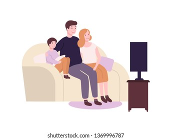 Cute funny family sitting on couch or sofa and watching TV, movie or film. Adorable joyful mother, father and son spending time together. Parents and child at home. Flat cartoon vector illustration.