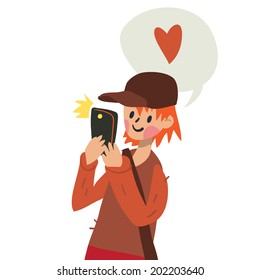 Cute funny flat cartoon vector boy with smart phone. For ui, web games, tablets, wallpapers, and patterns.
