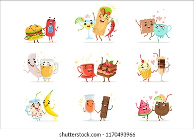 Cute funny food characters having fun vector Illustrations
