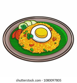 "Cute and funny fried rice ora ""Nasi Goreng"", a traditional delicious food from Indonesia - vector."