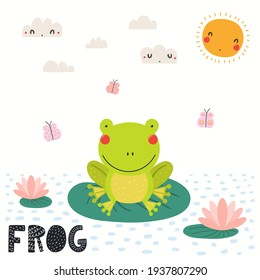 Cute funny frog in pond sitting on water lily leaf, isolated on white. Hand drawn wild animal vector illustration. Scandinavian style flat design. Concept for kids fashion, textile print, poster, card