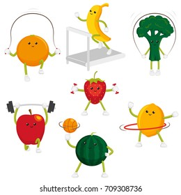 Cute and funny fruit and berry characters doing sport, fitness exercises, set of flat cartoon style vector illustrations isolated on white background. Funny fruit and berry characters doing sport
