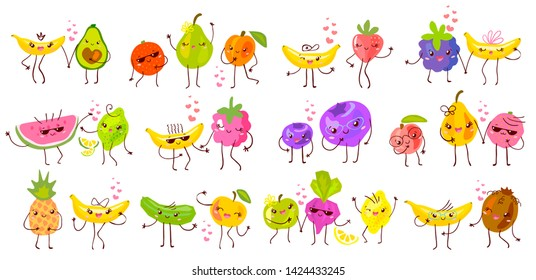 Cute funny fruit characters set isolated on white background. Smiling kawaii cartoon happy fruits collection. Hand drawn vector illustration.