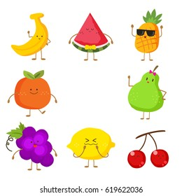 Cute and funny fruit set. Vector illustration