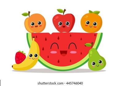 Un conjunto de frutas chistosas y divertidas. Ilustración del vector