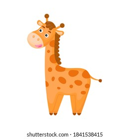 Joli motif de girafe marrant sur fond blanc. Personnage d'animal de compagnie africain pour la conception d'un album, d'un album, d'un album, d'une carte de voeux, d'une invitation, d'un décor de mur. Illustration vectorielle à plat coloré.
