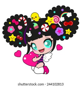 Cute funny girl with candy in her hair and a heart in hands for the congratulations on Valentine's Day