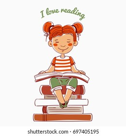 Cute, funny girl reads a book sitting on a stack of books