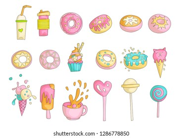 Cute funny Girl teenager colored icon set, fashion cute teen and princess icons. Magic fun cute girls objects - cocktail, donuts, cupcakes, cup, ice cream and lollipops hand draw teens icon collection