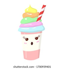 Cute, funny glass with a milkshake and a straw. Kawai drink with eyes and cream