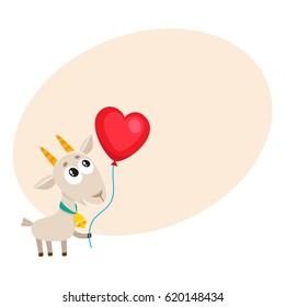 Cute and funny goat holding red heart shaped balloon, cartoon vector illustration with space for text. Baby goat holding heart balloon, birthday greeting decoration