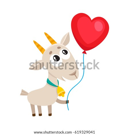 209e07076e Cute and funny goat holding red heart shaped balloon, cartoon vector  illustration isolated on white