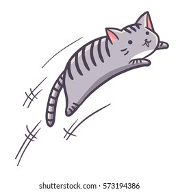 Cute and funny grey cat jumping - vector.