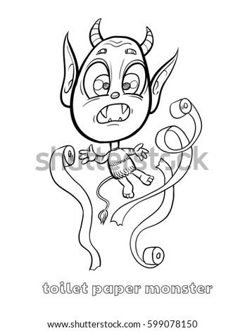 Cute Funny Halloween Monster Coloring Page Stock Vector Royalty