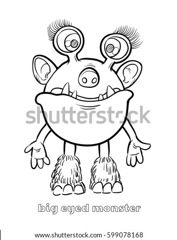 cute funny halloween monster coloring page stock vector royalty Selena Gomez Funny cute and funny halloween monster coloring page big eyed monster