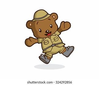 cute funny happy adventurer explorer teddy bear mascot cartoon character