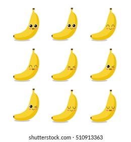 Cute, funny and happy banana set character. Fruits vector illustration