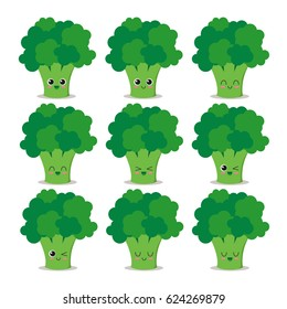 Cute, funny and happy broccoli set character. Vegetables vector illustration